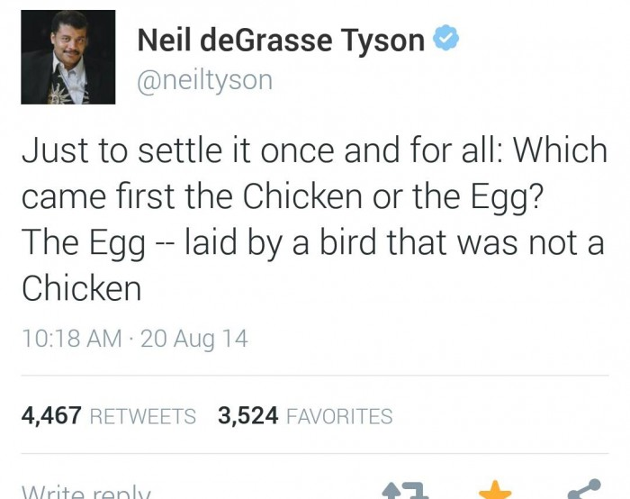 Neil deGrasse Tyson - Chicken or the Egg