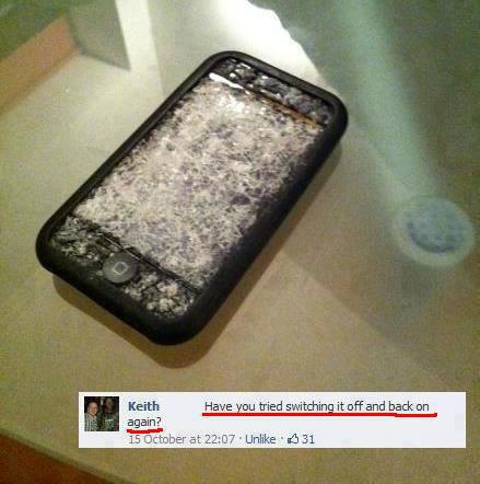 Broken glass iPhone - Funny comment !
