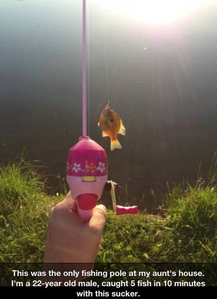 Fishing with the Barbie stick (pole) !