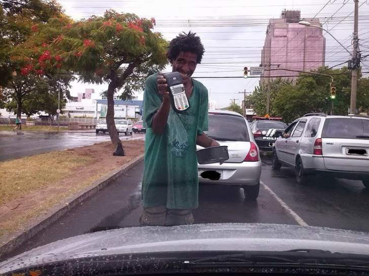 Beggars in Brazil now accept credit cards.