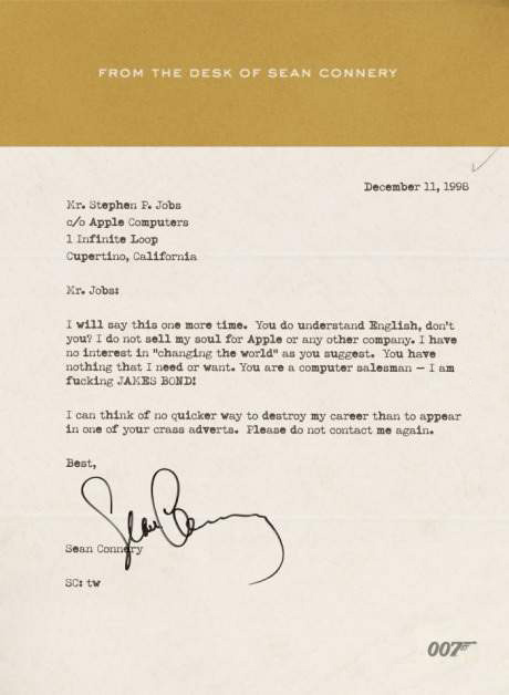 Letter to Steve Jobs from Sean Connery