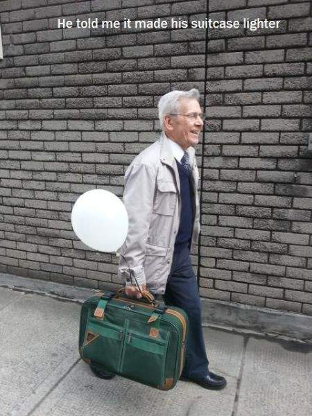 Man with the bag and balloon