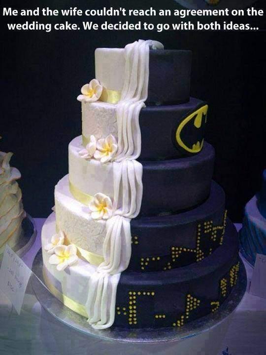 Wedding cake half Batman half normal.