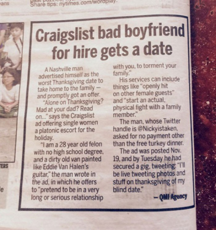 Craigslist bad boyfriend for hire gets a date
