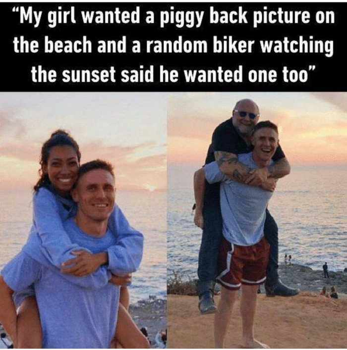 My girl wanted a piggy back picture on a beach...