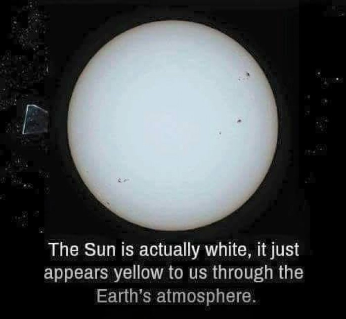 The Sun is actually white.