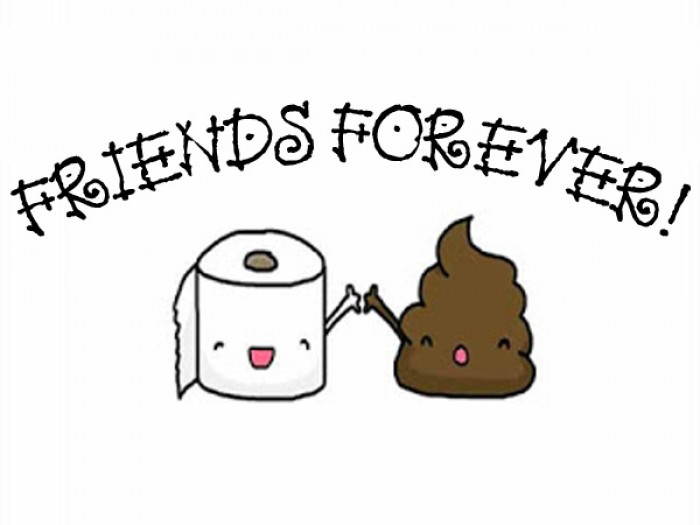 Friends forever - Poop and toilet paper roll print.