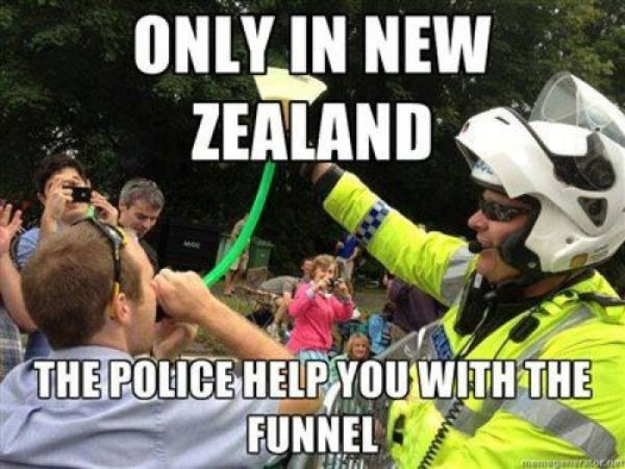 Only in New Zealand the police help you with the funnel