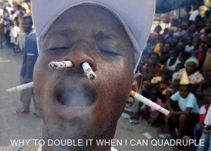 How to smoke four cigarettes at once