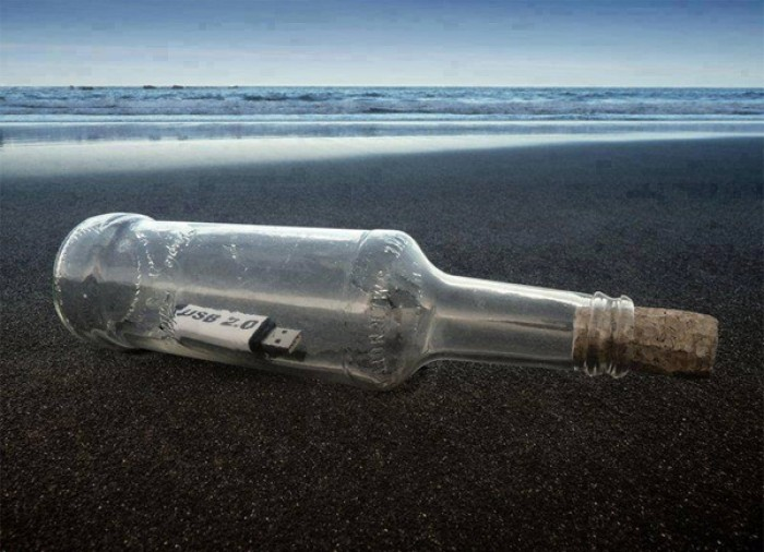 A modern-day message in a bottle.