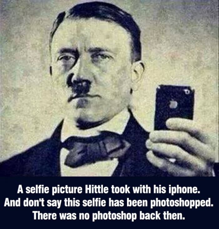A selfie picture Hitler took with his iphone.
