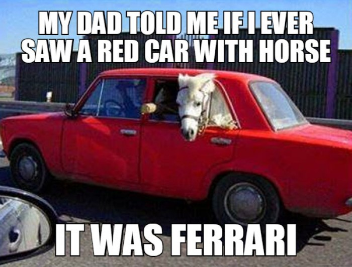 My dad told me if I ever saw a red car with horse...
