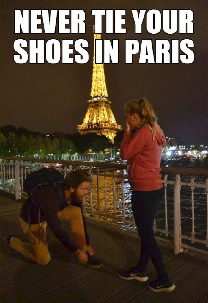 Never tie your shoes in Paris