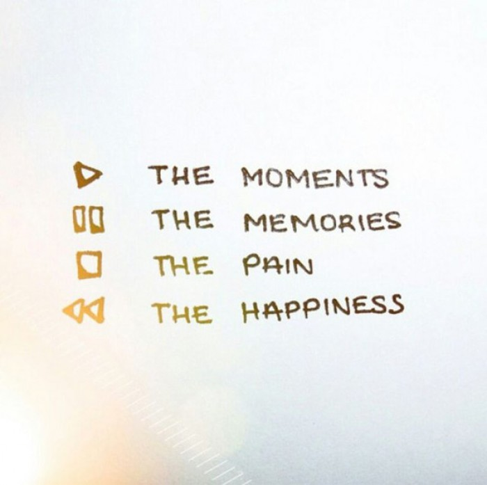 Play the moments, pause the memories, stop the pain, rewind the happiness.