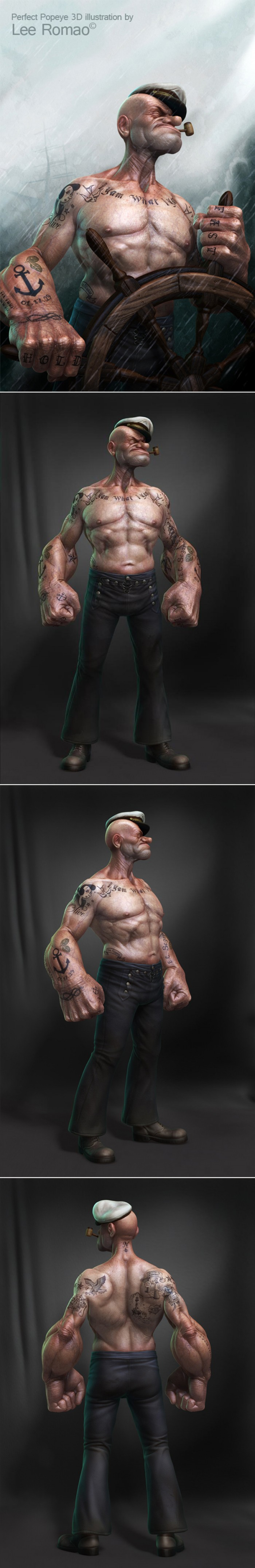 The Coolest Popeye 3D Illustration by Lee Romao