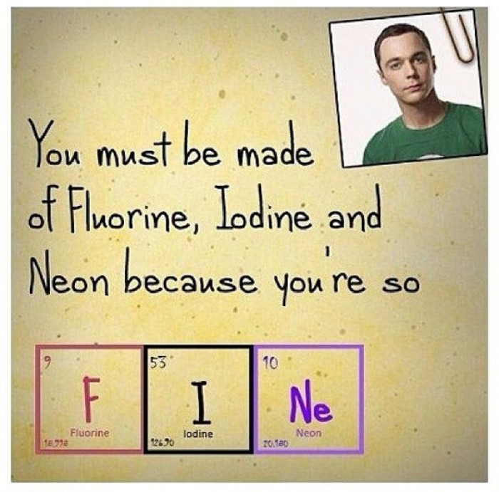 You must be made of Fluorine, Iodine, and Neon, because you are FINe