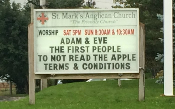 Adam and Eve the first people to not read the apple terms and conditions.