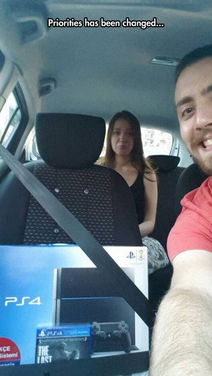 Taking ride with new Playstation 4 and my girlfriend in the back seat