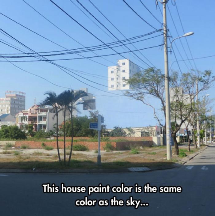House same colour as the sky