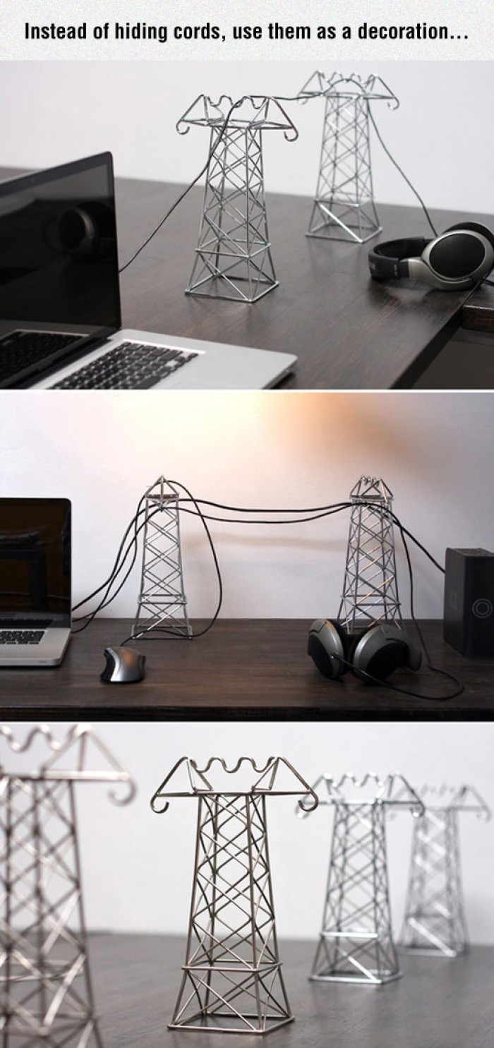 Instead of hiding cords, use them as a decoration...
