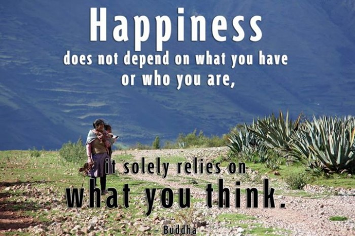 Happines does not depend on what you have or who you are