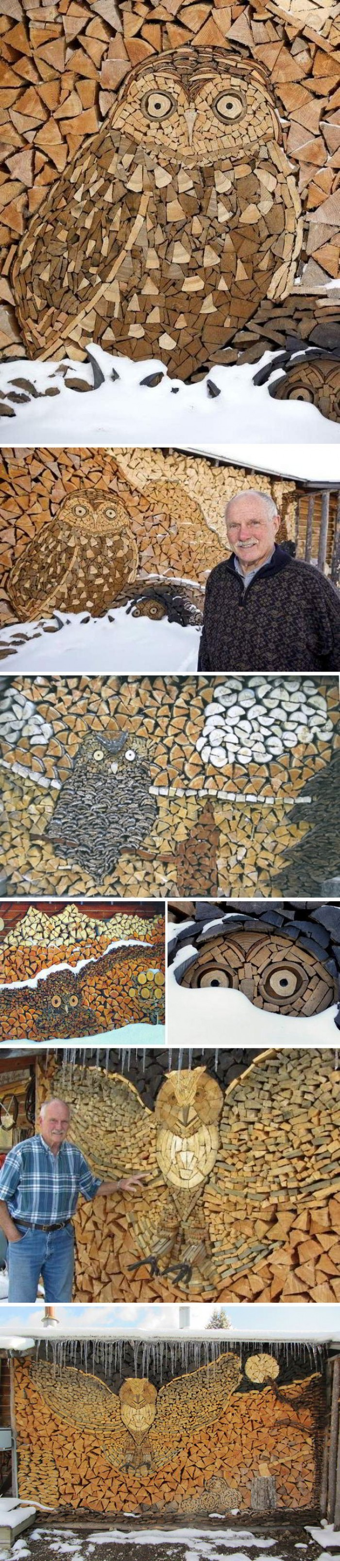 Incredible mosaics of owls by carefully piling firewood
