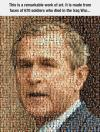 George W. Bush Portrait Made From Faces Of 670 Soldiers who died in the Iraq War